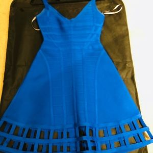 Herve Leger Electric Blue flare dress size S